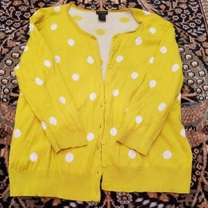 Yellow and white polka dot cardigan